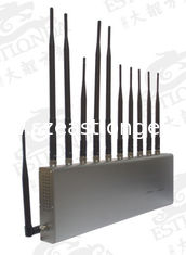 China 11 BandS Stainless Steel Silver Cell Phone Signal Jammer Blocking Mobile and WIFI / Earphone supplier