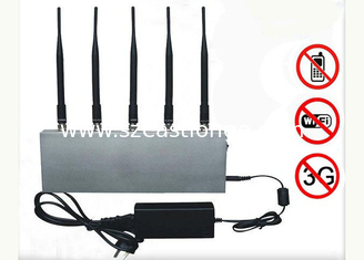China 6W Wifi + 2G + 3G Cell Phone Signal Jammer With 5 Antennas supplier