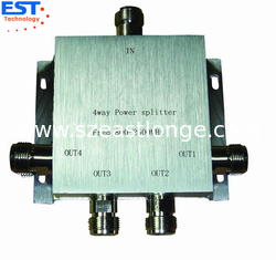 China 4 Way Power Divider / Splitter 140x140x60 Mm , 800-2500MHZ Frequency Range supplier