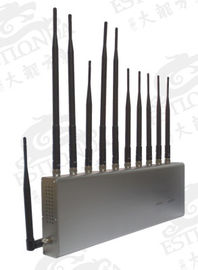 China 11 BandS Stainless Steel Silver Cell Phone Signal Jammer Blocking Mobile and WIFI / Earphone factory