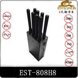 China 8 Antenna Handheld Metal Shell GPS Signal Jammer Block 2G / 3G / 4G / Wifi with Battery inside factory