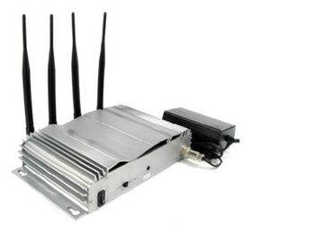 China Indoor Silver Cell Phone Signal Jammer 33dBm , Four Band Blocker EST-808A factory