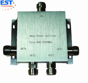 China 4 Way Power Divider / Splitter 140x140x60 Mm , 800-2500MHZ Frequency Range distributor
