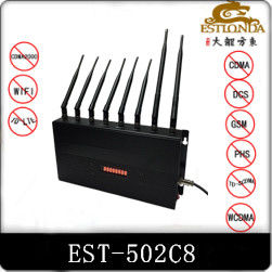 China Indoor Mobile Phone Signal Jammers 8 Bands Adjustable Remote Control 12W EST-502C8 factory