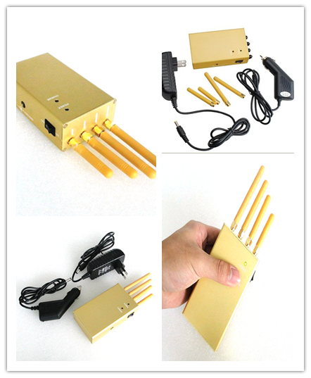 3.2 W Portable Cell Phone Jammer , 3G / GPS 4 Antenna Jammer Shield