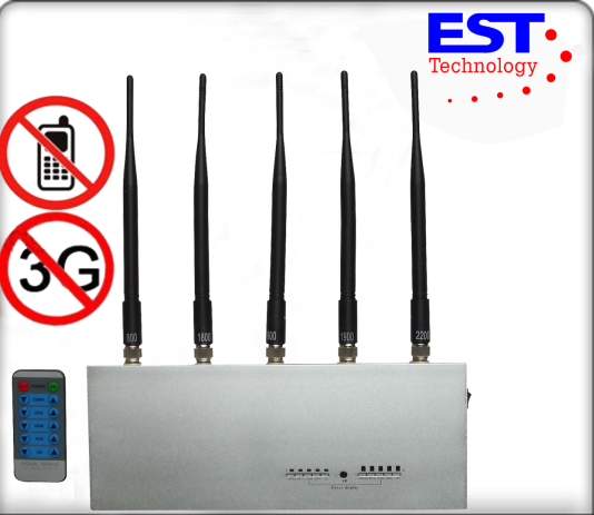 Stainless Steel Silver Cell Phone Signal Jammer Remote Control For Police And Command Center